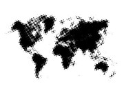 World Map Poster Art - Black Dotted World Map by Irina  March