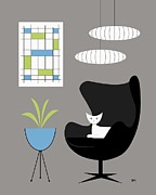 Mid Century Lamp Posters - Black Egg Chair Poster by Donna Mibus