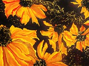 Perennials Painting Posters - Black Eyed Susans Poster by Lil Taylor