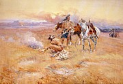 Cowboy Art Digital Art Posters - Black Feet Burning The Buffalo Range Poster by Charles Russell