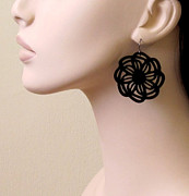 Silhouettes Jewelry - Black Flowers in the Sun Earrings by Rony Bank