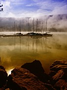 See Fog Photos - Black Forest See Titisee Germany Atmosphere Boats by Paul Fearn