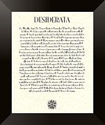 Poster Mixed Media Posters - Black Framed Sunburst DESIDERATA Poem Poster by Claudette Armstrong