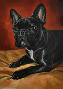 Paws Painting Originals - Black French Bulldog by Mercury Hour