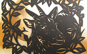 Cut Out Mixed Media - Black Goat Cut Out by Alfred Ng