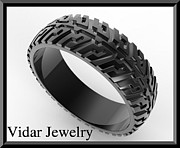 Black Ring Jewelry Originals - Black Gold Tire Tread Men Wedding Ring by Roi Avidar