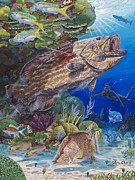 Coral Reef Paintings - Black Grouper hole by Carey Chen
