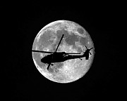 Helicopter Digital Art Prints - Black Hawk Moon Print by Al Powell Photography USA