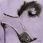 Gifts Framed Prints - Black High Heel Shoe with Feather Shoes Paintings Framed Print by Beverly Brown Prints