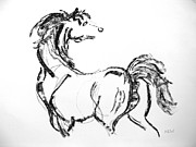 White Arab Pastels Prints - Black Horse Print by Holly Wright