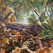 Extinct Animals Painting Posters - Black Iguana Poster by Shelly Leitheiser