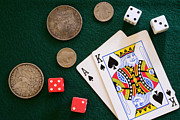 Board Game Photos - Black Jack and Silver Dollars by Paul Ward