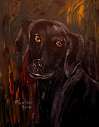 King James Framed Prints - Black Lab II Framed Print by Anna Sandhu Ray