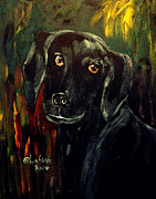 King James Framed Prints - Black Lab III Framed Print by Anna Sandhu Ray