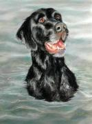 Lab Pastels - Black Lab Jake by Lenore Gaudet