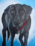 Dog Greeting Cards Prints - Black Lab Print by Leslie Manley