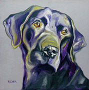 Lab Drawings Metal Prints - Black Lab Prize Metal Print by Susan A Becker