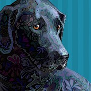 Labrador Digital Art - Black Lab Squared by Sharon Marcella Marston