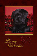 Black Lab Valentine Print by Waldek Dabrowski