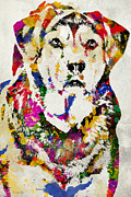 Retrievers Digital Art Metal Prints - Black Lab Watercolor Art Metal Print by Christina Rollo