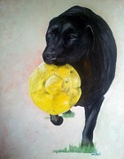 Abigail Paintings - Black Labrador Commission Painting by Isabella F Abbie Shores