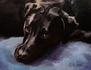 Portrait Paintings - Black Labrador - Custom Pet Portrait by Viktoria K Majestic