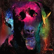 Labrador Digital Art Metal Prints - Black Labrador Dog Metal Print by Marlene Watson