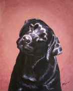 Dog Print Prints - Black Labrador Portrait Painting Print by Amy Reges