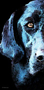 Dogs Digital Art Metal Prints - Black Labrador Retriever Dog Art - Hunter Metal Print by Sharon Cummings