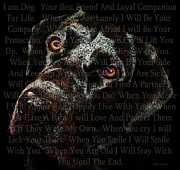 Inspirational Quotes Framed Prints - Black Labrador Retriever Dog Art - I Am Dog Framed Print by Sharon Cummings