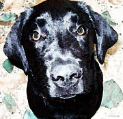 Sharon Cummings Digital Art - Black Labrador Retriever Dog Art by Sharon Cummings