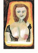 Alluring Paintings - Black Lace With An Angel Face by John Deeter