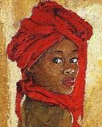 African-american Mixed Media Posters - Black Lady No. 12 Poster by Janet Ashworth