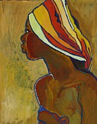 African-american Mixed Media Posters - Black Lady With Colorful Head-dress Poster by Janet Ashworth