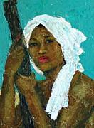 Black Lady With White Head-dress Print by Janet Ashworth