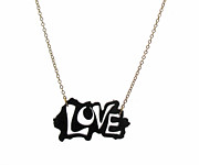 Perspex Necklace Jewelry - Black Love Necklace by Rony Bank
