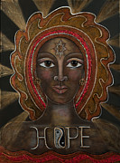 Black Madonna Paintings - Black Madonna - Hope by Deborha Kerr