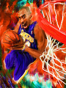 Kobe Bryant Abstract Prints - Black Mamba Print by Lourry Legarde