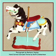Wood Sculpture Posters - Black Mane Carousel Horse Poster by Barbara Snyder and Keith Zimmerman