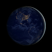 Planet Map Prints - Black Marble - City Lights Americas Print by Nasa