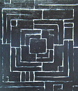 Abstract Map Painting Prints - Black Maze Print by Kazuya Akimoto
