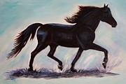 Black Stallion Paintings - Black Morgan Beauty by Leslie Allen