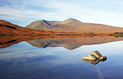 Scottish Scenery Prints - Black mount mountain range reflection Print by Grant Glendinning