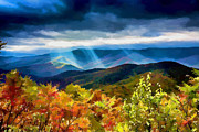 Appalachia Metal Prints - Black Mountains Overlook Watercolor Metal Print by John Haldane