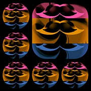 Mustaches Prints - Black Mustaches Print by Daryl Macintyre