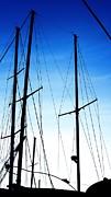Sailboats In Water Posters - Black N Blue Hour Of Sailing Ships Poster by Rosemarie E Seppala