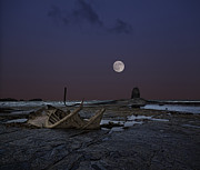 Sea Moon Full Moon Prints - Black Nab and the wreck of the Admiral Von Tromp Print by Graham Moore