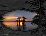 Cypress Digital Art Prints - Black Night Sunrise Print by J Larry Walker