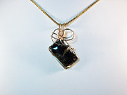 Swarovski Crystals Jewelry - Black Onyx/Pyrite Natural Stone Pendant  by Holly Chapman
