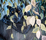 Jungle Animals Paintings - Black Panther 2 by Nick Gustafson